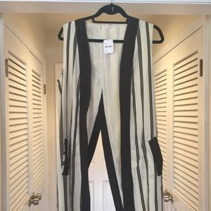Tops - Free People sleeveless tuxedo striped long vest